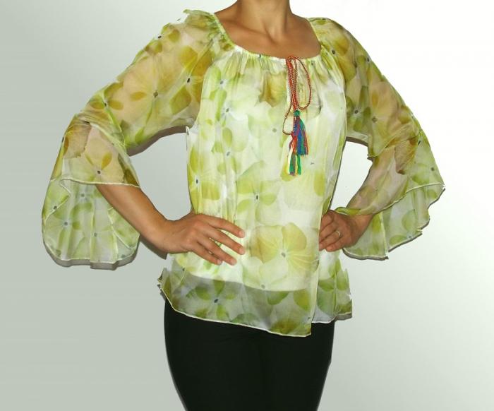 Bluza dama eleganta din voal cu croi lejer - Corina Verde 0