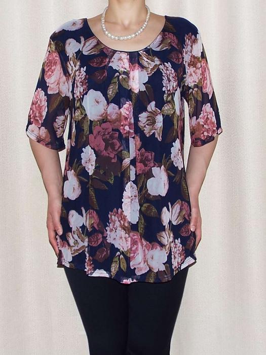 Bluza dama lejera cu imprimeu floral - Victoria Bleumarin [0]