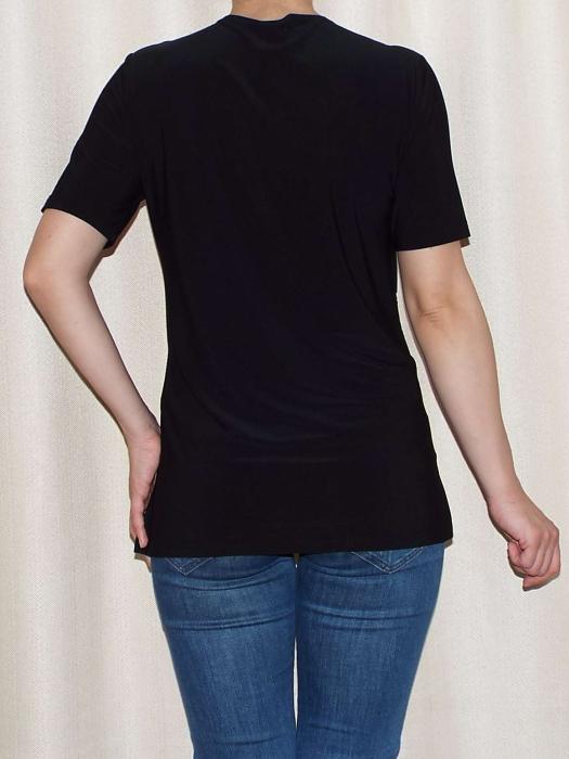 Bluza dama neagra cu imprimeu floral alb - Ivana 1