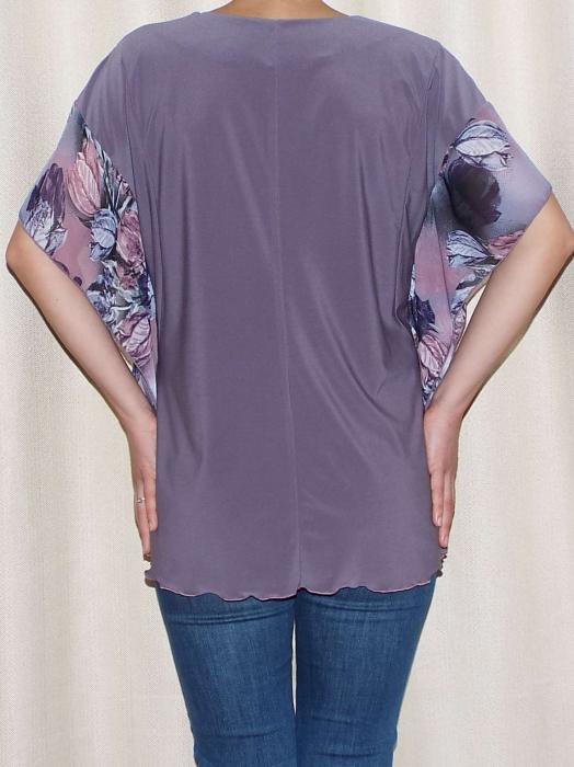 Bluza dama vaporoasa cu maneca fluture - Lisa Mov 1