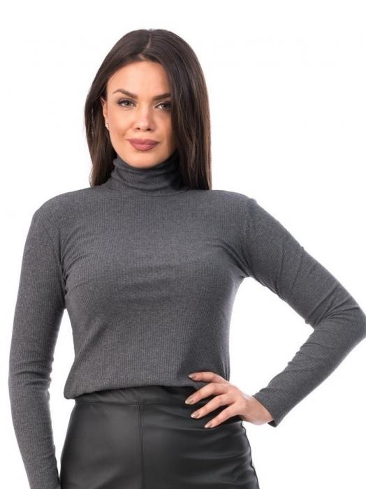 Bluza din bumbac gri cu maneca lunga si guler inalt - B6127 0