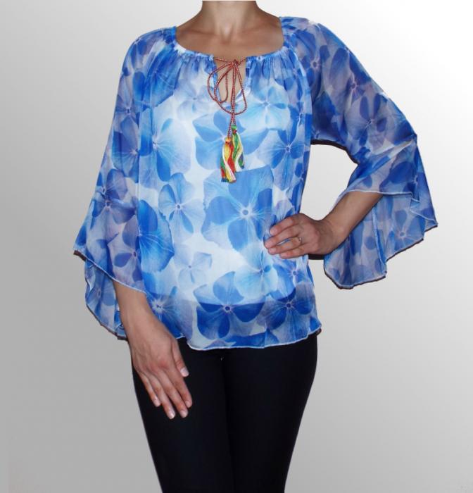 Bluza eleganta din voal inflorat cu croi lejer - Corina 0