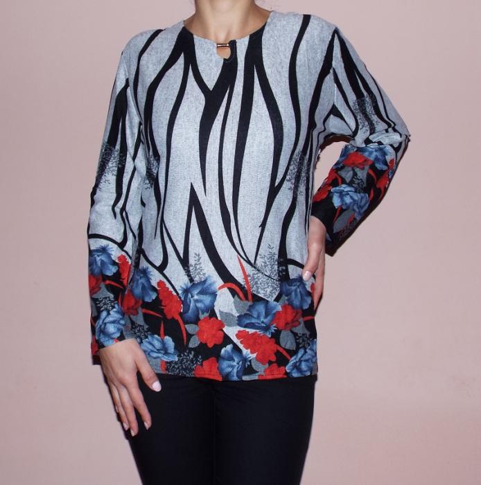 Bluza gri cu flori imprimate rosu/albastru si maneca lunga - Eva 0