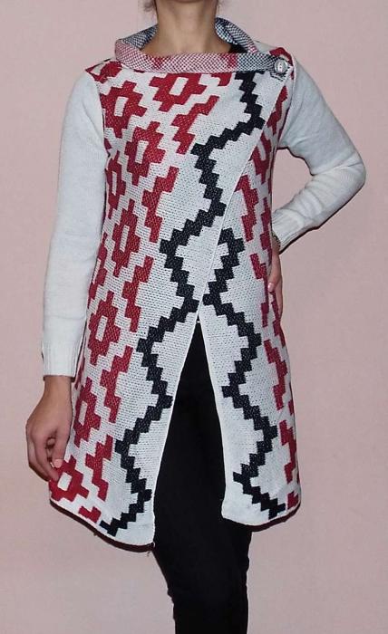 Cardigan alb tricotat cu imprimeu  - CDG3 1
