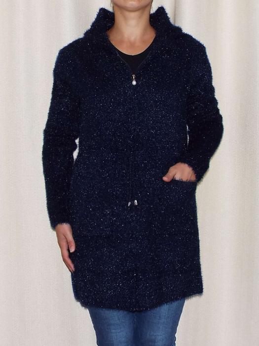 Cardigan dama tricotat bleumarin cu gluga si fermoar - C018 [1]