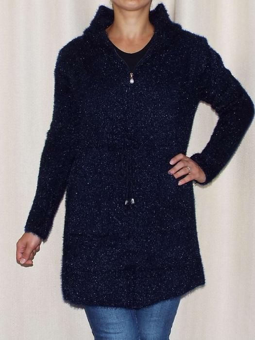 Cardigan dama tricotat bleumarin cu gluga si fermoar - C018 [0]