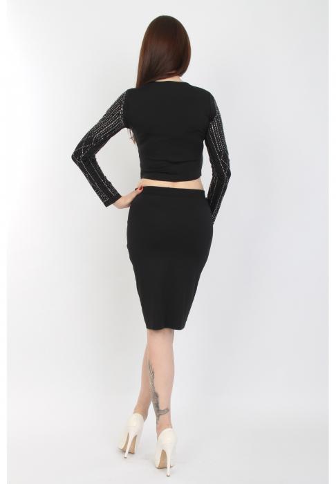 Compleu dama negru din jerse cu strasuri - C6186 1