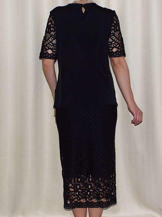 Costum dama din dantela brodata neagra - ALMA 1