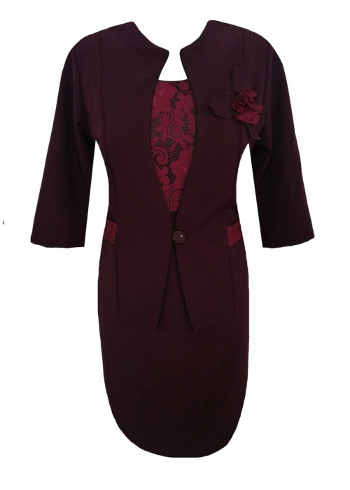 Costum dama din stofa cu maneca trei sferturi - Sonia Grena 0