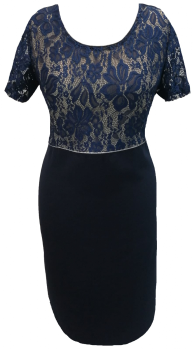 Costum dama din stofa si dantela bleumarin - Sonia Bleumarin 1