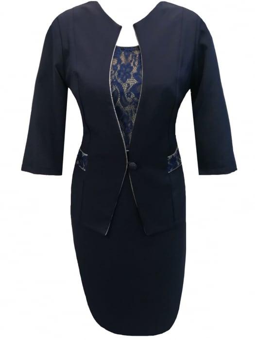 Costum dama din stofa si dantela bleumarin - Sonia Bleumarin 0