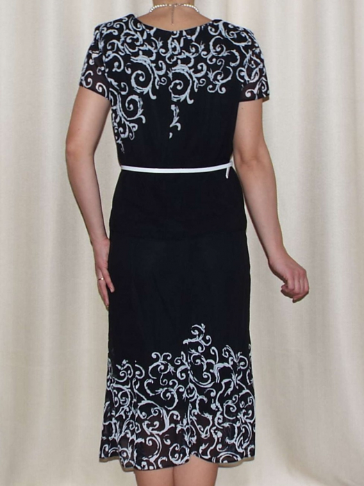 Costum dama din voal imprimat si maneca scurta - Cecilia Bleumarin 1