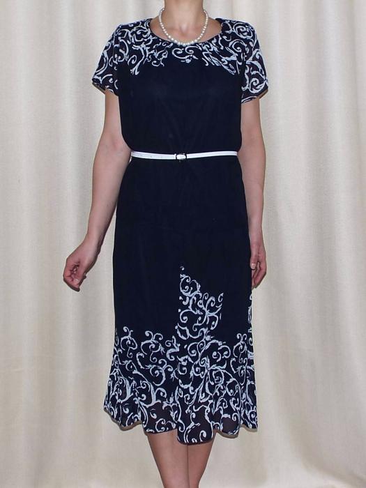 Costum dama din voal imprimat si maneca scurta - Cecilia Bleumarin 0