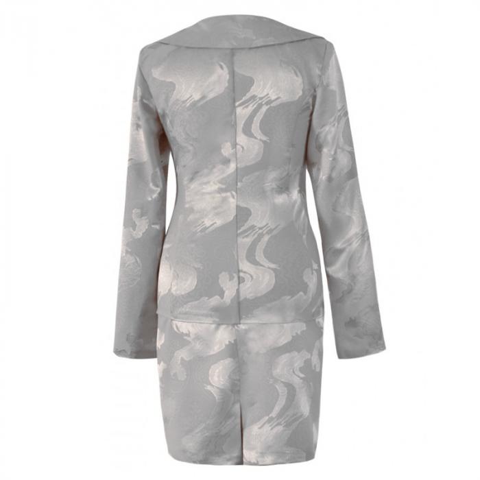 Costum dama elegant din jacard gri cu maneca lunga - CO10FS10 1