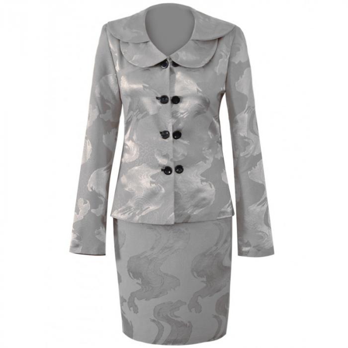 Costum dama elegant din jacard gri cu maneca lunga - CO10FS10 0