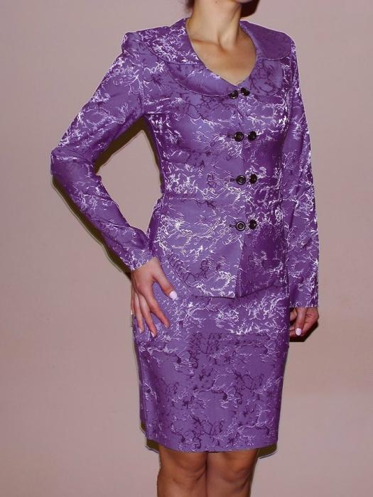 Costum dama elegant din jacard mov - C011FS11 0