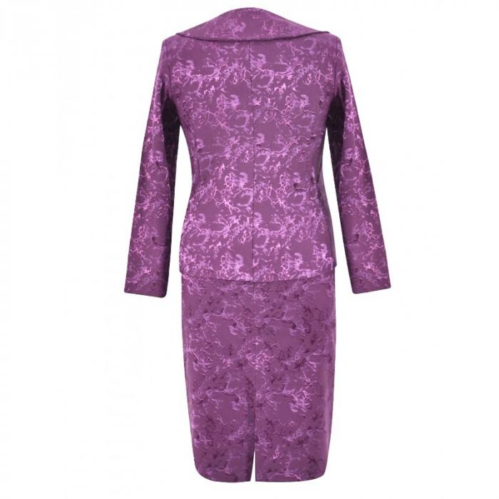 Costum dama elegant din jacard mov - C011FS11 1