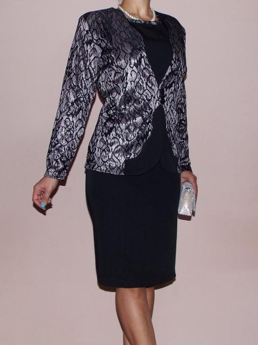 Costum dama elegant din stofa si dantela - Teodora [0]