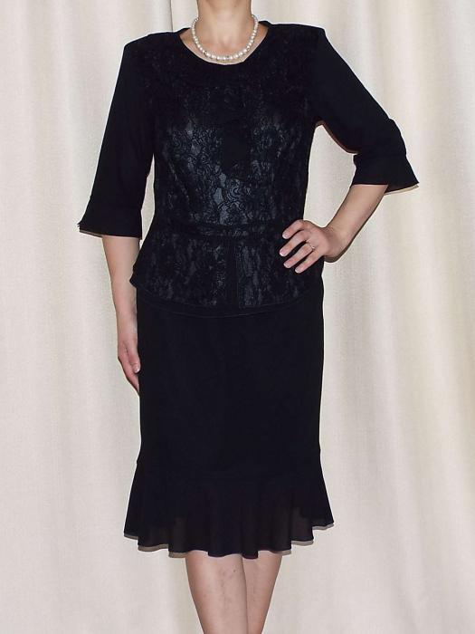 Costum dama elegant din voal si dantela - Elvira Negru [2]