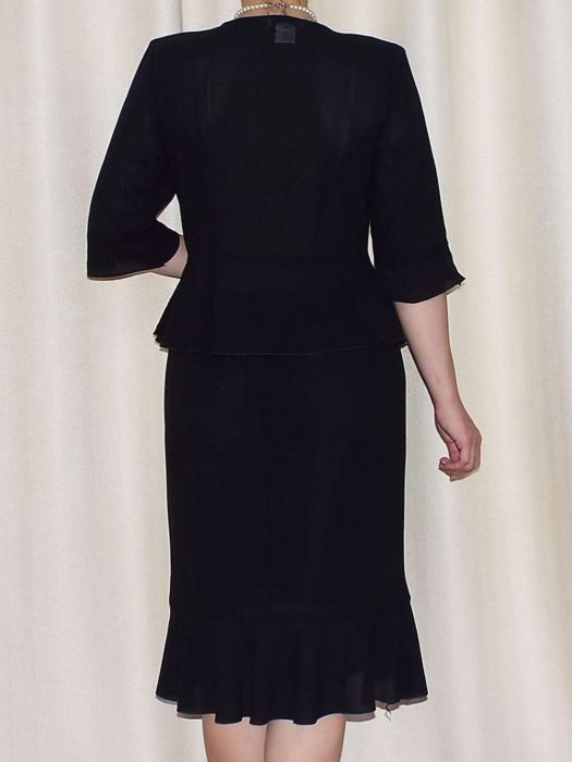 Costum dama elegant din voal si dantela - Elvira Negru [1]