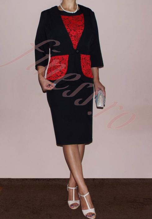 Costum elegant dama din stofa si dantela - Nadia 1