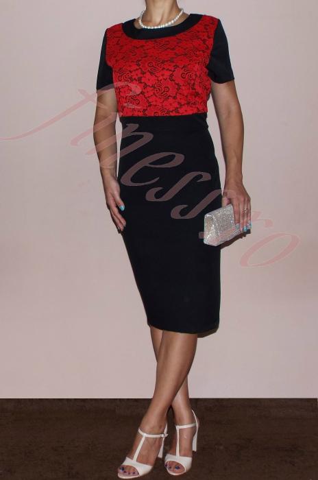 Costum elegant dama din stofa si dantela - Nadia 2