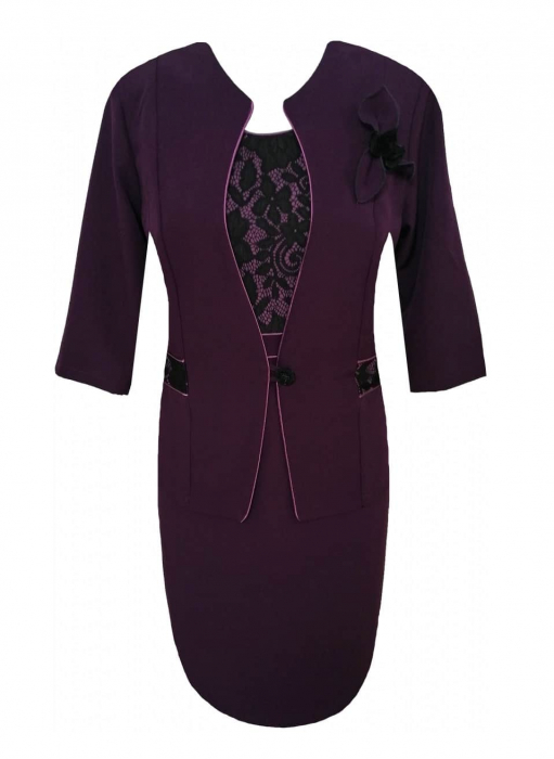 Costum elegant de dama cu brosa detasabila - Sonia MOV 0