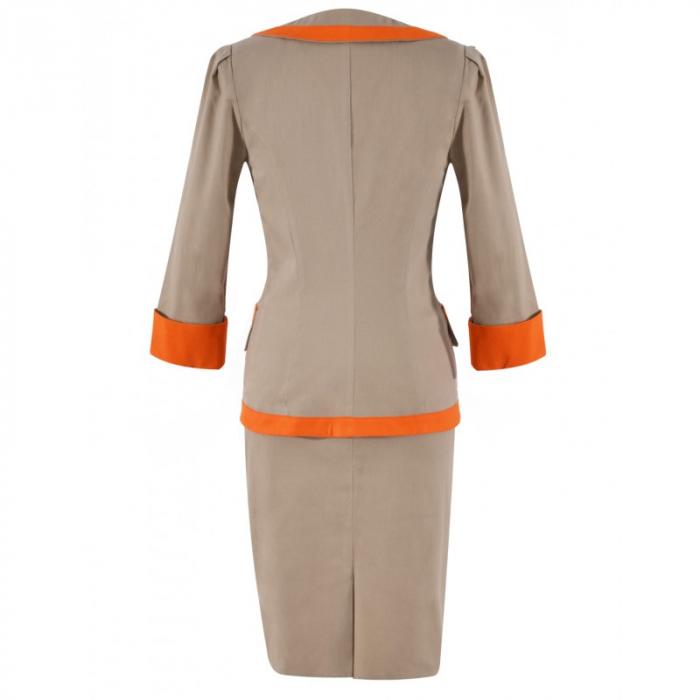 Costum elegant din bumbac bej cu insertii portocalii – C016F16 2