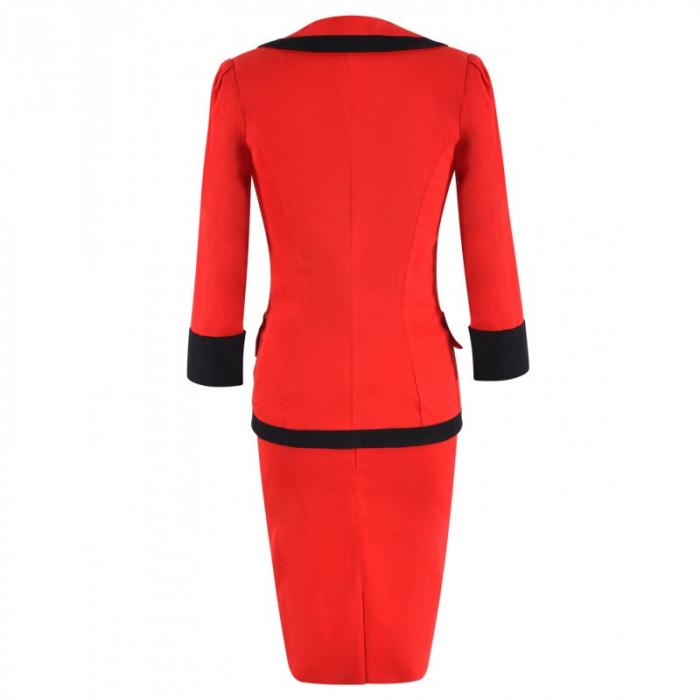 Costum elegant din bumbac rosu cu insertii negre - C001FS4 [1]