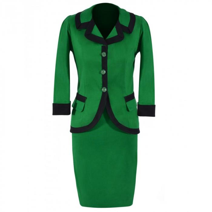 Costum elegant din bumbac verde cu insertii negre – C012F12 0