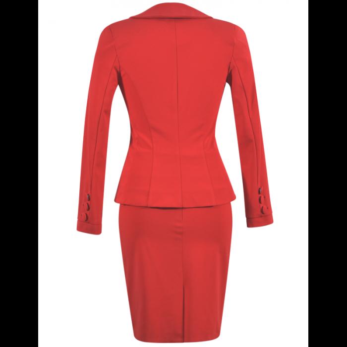 Costum office elegant rosu cu maneca lunga - C017F17 1