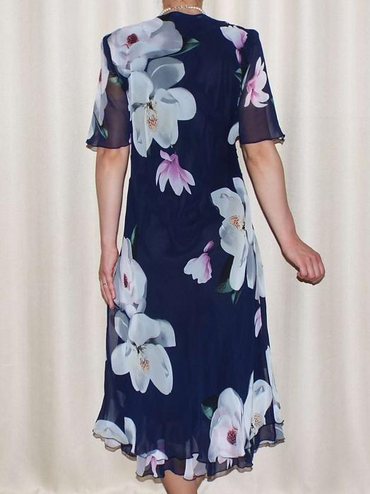 Rochie de vara din voal cu imprimeu si brosa - Victoria 8 [1]