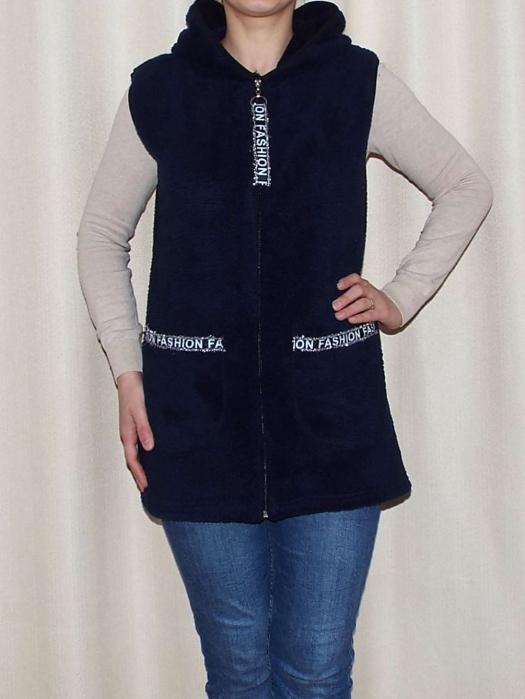 Vesta dama cocolino cu buzunare si gluga - Liana Bleumarin 1