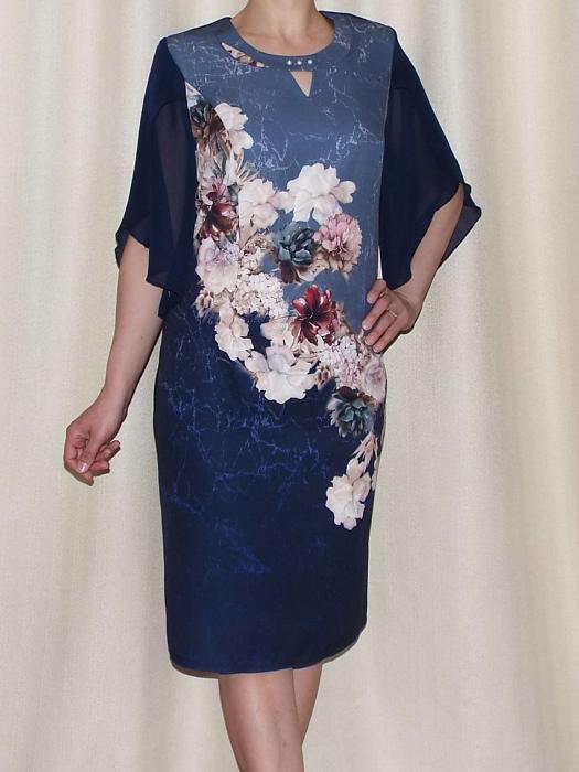 Rochie eleganta din stofa cu maneci din voal - Eliana Bleumarin [0]