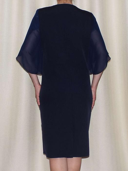 Rochie eleganta din stofa cu maneci din voal - Eliana Bleumarin [2]