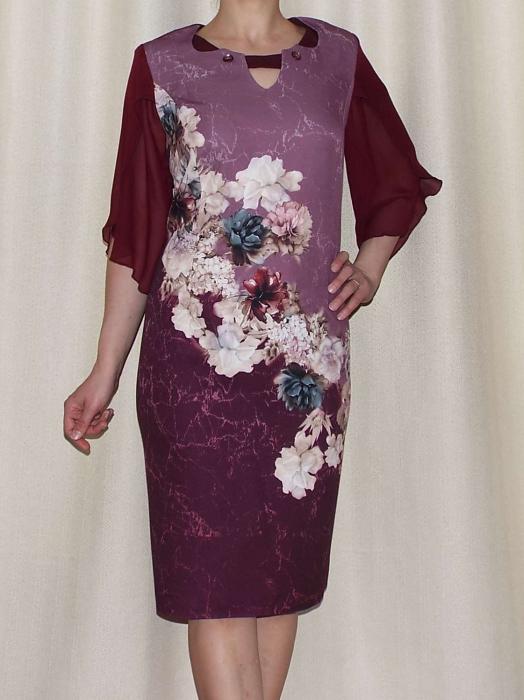 Rochie eleganta din stofa cu maneci din voal - Eliana Bordo 0