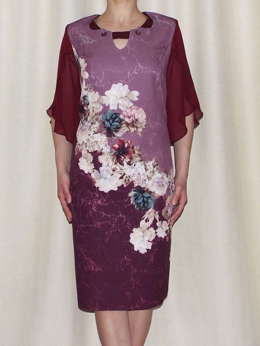 Rochie eleganta din stofa cu maneci din voal - Eliana Bordo 1