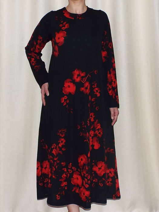 Rochie de zi din crep elastic cu imprimeu floral - Georgia Negru 0