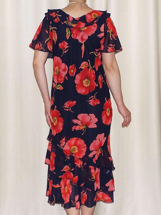 Rochie de vara din voal imprimat cu maneca scurta - Verona Rosu [1]
