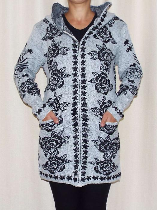 Cardigan dama tricotat gri cu gluga si buzunare - C016 [1]