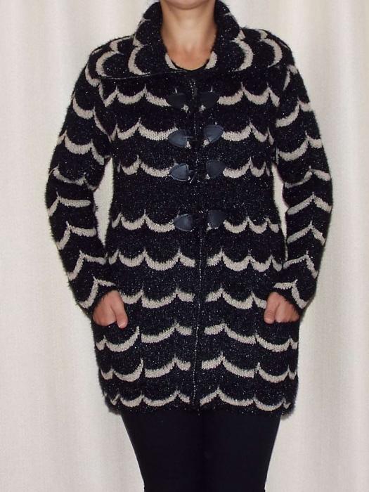 Cardigan dama tricotat cu guler si buzunare - C021 [1]