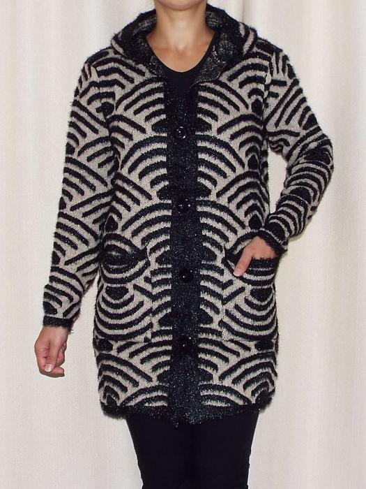 Cardigan dama tricotat cu gluga si buzunare - C023 [0]