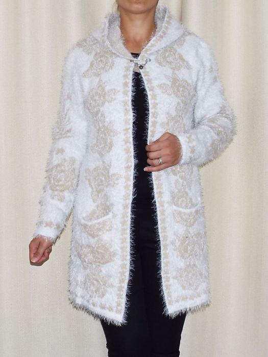 Cardigan dama tricotat cu gluga si buzunare - C013 [0]