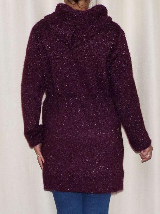 Cardigan dama tricotat cu gluga si buzunare - C017 [1]