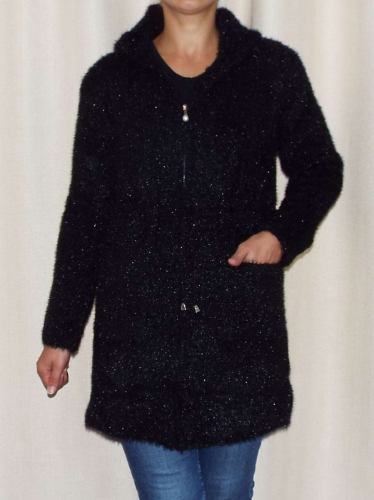 Cardigan dama tricotat cu buzunare si gluga - C019 [1]
