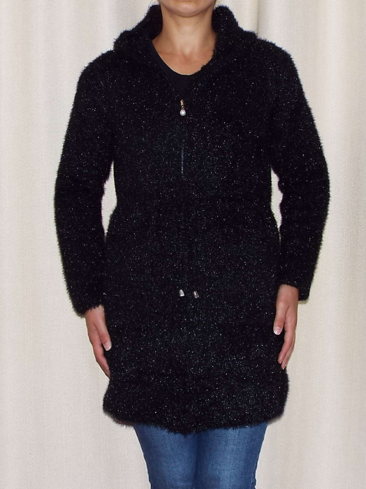 Cardigan dama tricotat cu buzunare si gluga - C019 [0]