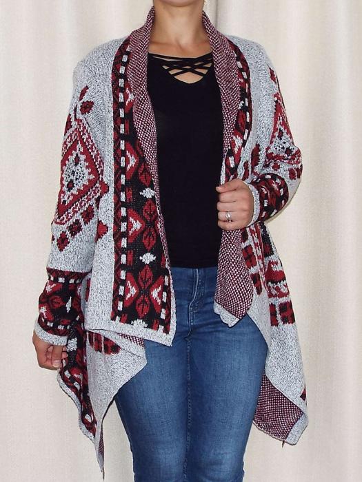Cardigan dama din tricot cu maneca lunga si  croi asimetric - C010 [0]