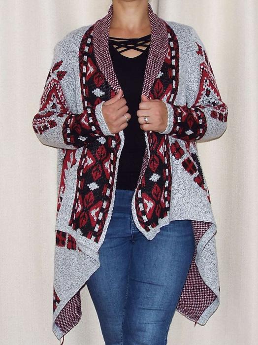 Cardigan dama din tricot cu maneca lunga si  croi asimetric - C010 [1]