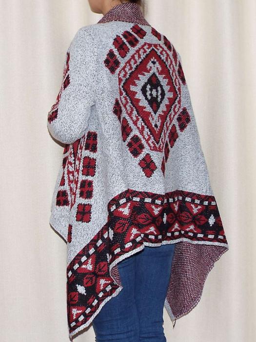 Cardigan dama din tricot cu maneca lunga si  croi asimetric - C010 [2]