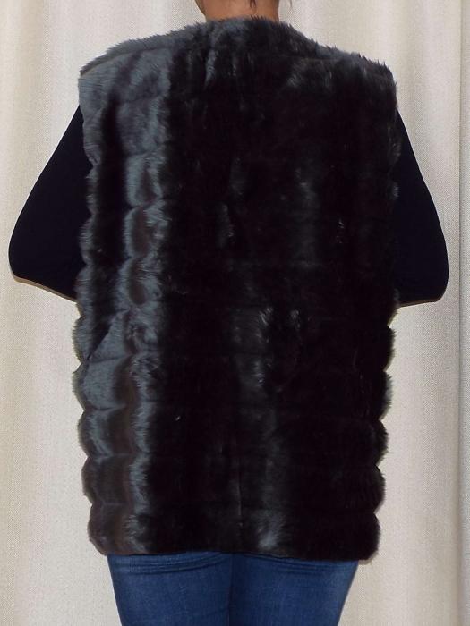 Vesta dama din blana ecologica - Melisa Gri [1]